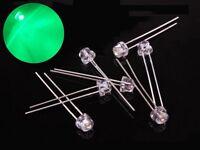 S375 - 20 Stück 5mm LEDs grün klar Kurzkopf straw hat Flachkopf green