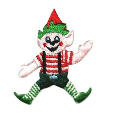 ID 8163 Christmas Elf Santa Workshop Helper Embroidered Iron On Applique Patch