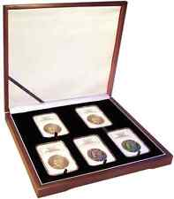 Mahogany Display Box Case 5 Certified Graded USA Coin Slabs Collection NGC PCGS