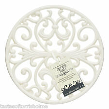 Kitchen Craft Cast Iron Round Cream Table Top Work Surface Pan Stand Trivet