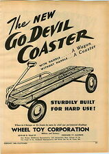 1946 PAPER AD Go Devil Wheel Toy Co Coaster Wagon Bee Line Darts
