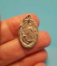 Vintage Sterling Silver Our Lady Of Lourdes Medallion Pendant Bracelet Charm