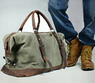 Retro Vintage Men Genuine Leather canvas duffle weekend bag lightweight luggage