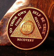 Premium Burgundy Gold Plate Alcoholics Anonymous 28 Year Medallion Coin Token