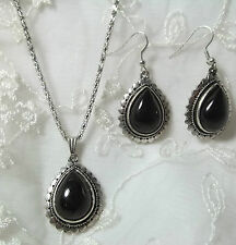 Silver With Black Acrylic Tear Pendant Necklace Earrings Set Fashion Jewelry NEW