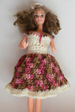 Barbie Fashion Doll Crochet Homemade Pink Brown Tan Ecru Dress With Ruffle NWOT
