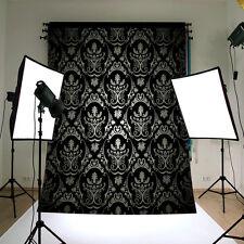 5x7FT Schwarz Retro Damast Fotografie Hintergrund Foto Kulissen Backdrop
