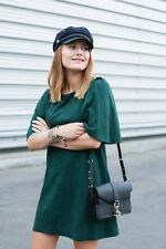 NWT ZARA BOTTLE GREEN FAUX SUEDE DRESS WITH CAPE SLEEVES EMERALD REF. 4530/261