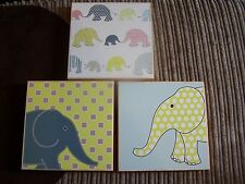 ELEPHANTS , SET OF 3 PICTURES 20CM X 20CM, GIRLS OR BOYS  BEDROOM/NURSERY
