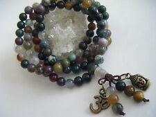 Spiritual Unisex Indian Agate Mala Necklace/Bracelet Buddha Om Calming Grounds
