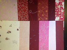 Handmade Craft Paper- Red Tones Metallic Embossed Assorted