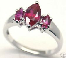 Lab Created Ruby Silver Ring, July #58 Sz 7