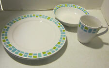 Vint Royal Norfolk-Greenbriar Int 3 mid century blue & green mosaic plates & mug