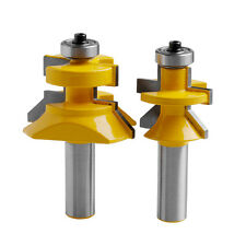 "2x Carbide 45° Router Bit 1/2"" Shank x 1-1/8"" Matched Tongue &Groove V-Notch"
