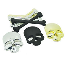 3D Metal Skull  Car Sticker Window Styling Decal Chrome gold silver 3