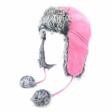 WOMENS UNISEX LINED RUSSIAN BREATHABLE WINTER WARM FAUX FUR TRAPPER SKI HAT1101