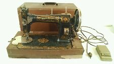 Vintage White Rotary Sewing Machine Motor Treadle Metal Pedal Carrying Case Old