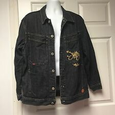 JNCO Jeans Vintage Denim Jacket M-8104 Washed Black Gold Logo Men Medium M Fall