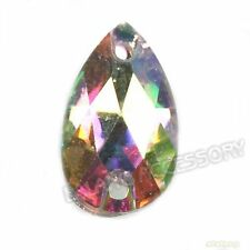 750x Retail Teardrop Colorful AB Sew-on Faceted Resin Flatback Beads 7x12mm Lots