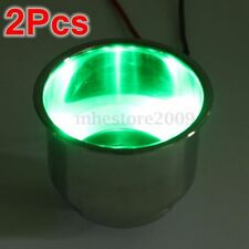 2Pcs Set 8LED's Green Stainless Steel Cup Drink Holder For Marine Boat Car Truck