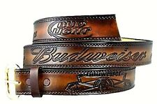BUDWEISER BUD LIGHT BEER WESTERN LEATHER BELT & BUCKLE