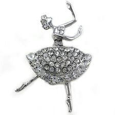 Dancing Ballet Ballerina Brooch Pin Clear AB Crystal Silvertone Fashion Designer