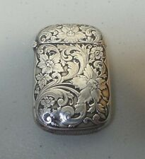 FINE ART NOUVEAU STERLING SILVER MATCH SAFE / VESTA CASE, FLORAL, 25 grams