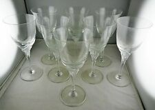 8 Cristal de Sevres Crystal Butterfly Water Goblets - French Glass - Frosted