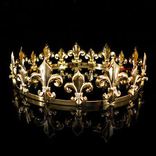 Men's Imperial Medieval Fleur De Lis Gold King Crown 4.6cm High 18cm Diameter