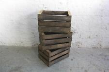 VINTAGE FRENCH BUSHEL FRUIT BOXES CRATES x 3 WITH BLUE WRITING
