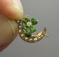 4 Leaf Clover Enamel Diamond Pendant Flower Necklace 14K Gold Victorian Art Deco