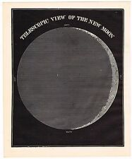 ANTIQUE PRINT VINTAGE 1889 ASTRONOMY STARS CELESTIAL NEW MOON TELESCOPIC VIEW
