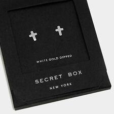 Cross Earrings Tiny Secret Gift Box WHITE GOLD DIPPED Small Stud Classic Elegant