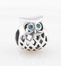 WISE OWL GRADUATION UNI Genuine S925 Sterling Silver Charm Bead European