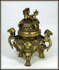 "Highly Detailed  ""Chinese Bronze Incense Burner"" Dragon Handles & Foo Dog on Lid"