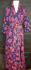 VINTAGE MISS ELAINE FLORAL QUILTED LONG WRAP LOUNGE BATH  HOUSE COAT ROBE Medium