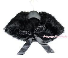 Noir pur Fourrure Moelleux Fête de Mariage Flower Girl kids manteau châle cape avec ruban