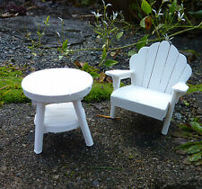 Dollhouse Miniature Fairy Garden Adirondack Chair & Table Set, WHITE