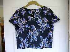 Black & multi coloured blurred floral print short sleeved scuba boxy top SIZE 12