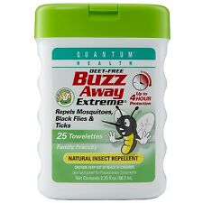 Quantum Buzz Away Extreme Natural Insect Repellent Towelettes 25 ea