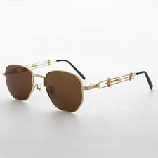 Square Steampunk Rare Vintage Sunglass with JPG inspired  NOS Gold Brown -Jagger