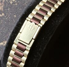 Gold & brown link vintage Zodiac watch NSA bracelet pick ends 12mm to 16mm wide