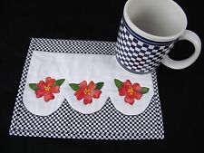 Matching Mug Rug and Mug Navy Checkered Flowers Handmade Quilted Appliqued