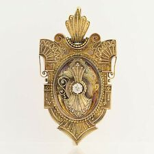 Victorian Etruscan Style Diamond Locket - 10k Yellow Gold Antique Mine Cut .24ct