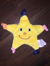 KIK Okay Schmusetuch Schnuffeltuch Kuscheltuch Stern Gelb Knoten Gesicht Blau