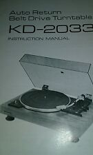 KENWOOD KD-2033 instruction manual 8 pages