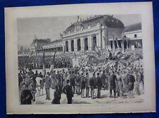 INCISIONE 1880 - XIMENES -GARIBALDI ALLA STAZIONE DI MILANO