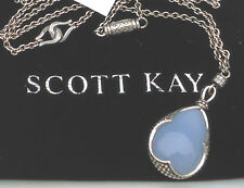 """NEW $1350 Scott Kay Guardian Necklace Blue Chalcedony Sapphires 38"""" 925 Silver"""