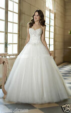 Strapless Princess Wedding Dress applique tulle lace White/Ivory Ball Size:2-22+