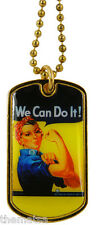 """ARMY WE CAN DO IT ENGRAVABLE LADIES MILITARY  DOG TAG WITH 24"""" CHAIN"""